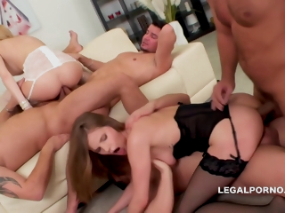 Sarah Kay, Belle Claire With an increment of Sara Kay In Three Massive Dicks Against Glum Blonde Bombshells Belle An