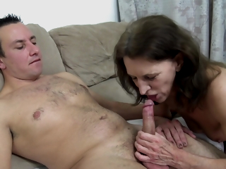 Naughty Brunette Granny Rides A Hard Load of shit